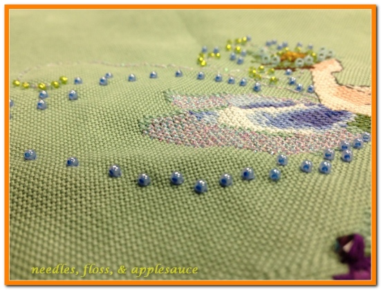 Angled view of beading